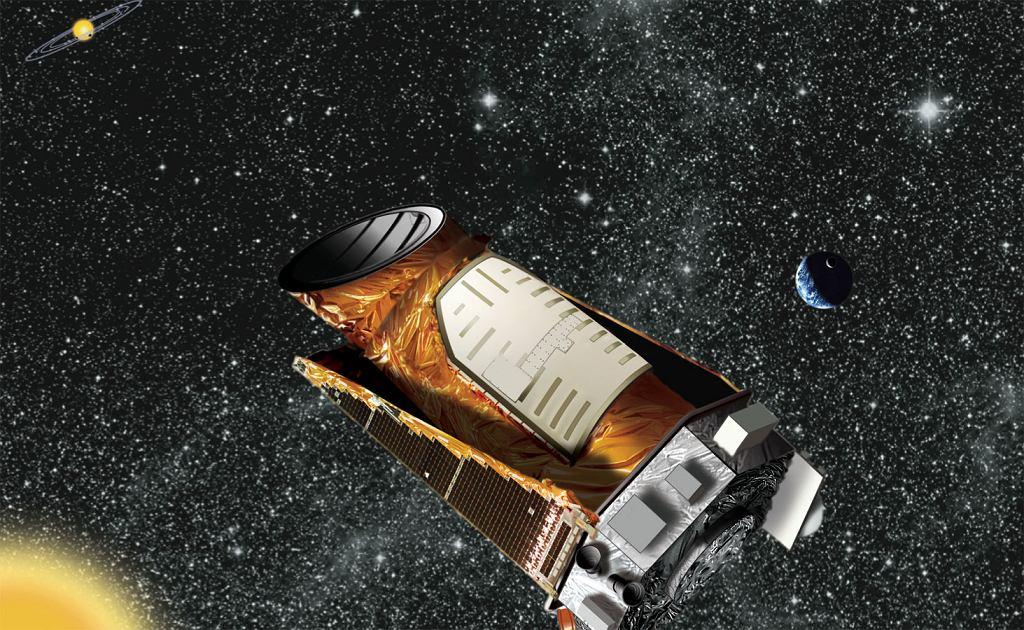 Wizja artystyczna sondy Kepler obserwującej obcy układ planetarny.