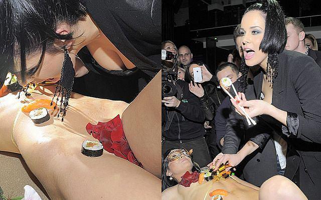 Wczoraj odbyły się urodziny nowej wokalistki Pauli Marciniak. Był tort i... goła dziewczyna a na niej sushi.