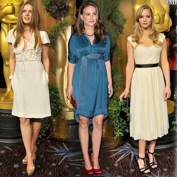 Amy Adams, Natalie Portman i Jennifer Lawrence na imprezie nominowanych do Oscara 2011
