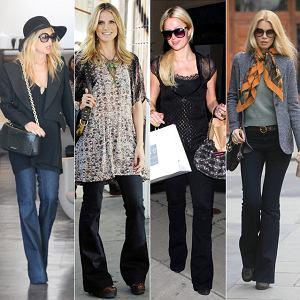 Hit gwiazd: spodnie - dzwony, Rachel Zoe, Paris Hilton, Claudia Schiffer, Heidi Klum
