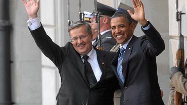 Barack Obama i Bronisław Komorowski przed Pałacem Prezydenckim, 27.05.2011 r.