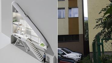 Po lewej projekt najwęższego domu w Warszawie, a może i na świecie. Inwestycja zmieści się w szparze między blokami przy Żelaznej 74 i Chłodnej 22
