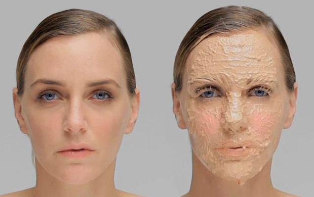 Twarz po nałożeniu 365 warstw makijażu