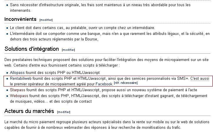 Hasło o mikropłatnościach z francuskiej Wikipedii z odnośnikiem do Rentabiliweb.
