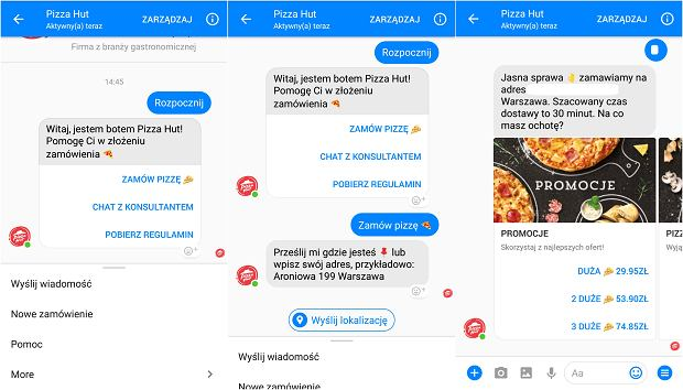 Messenger bot Pizza Hut