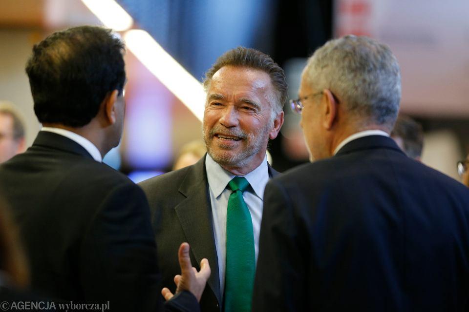Arnold Schwarzenegger podczas szczytu klimatycznego COP24,  grudzień, 2018 r.