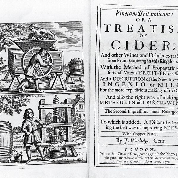 Historia cydru na kartach książki Johna Worlidge'a z XVII w.
