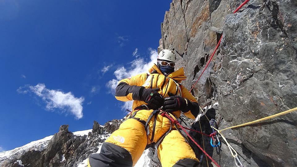 Artur Małek podczas wspinaczki na K2