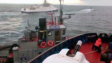 25.11.2018, Morze Azowskie, moment taranowania przez okręt rosyjskiej marynarki wojennej ukraińskiego okrętu patrolowego.