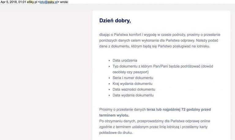 Mail od eSky dla niektórych wyglądał jak atak cyberprzestępców