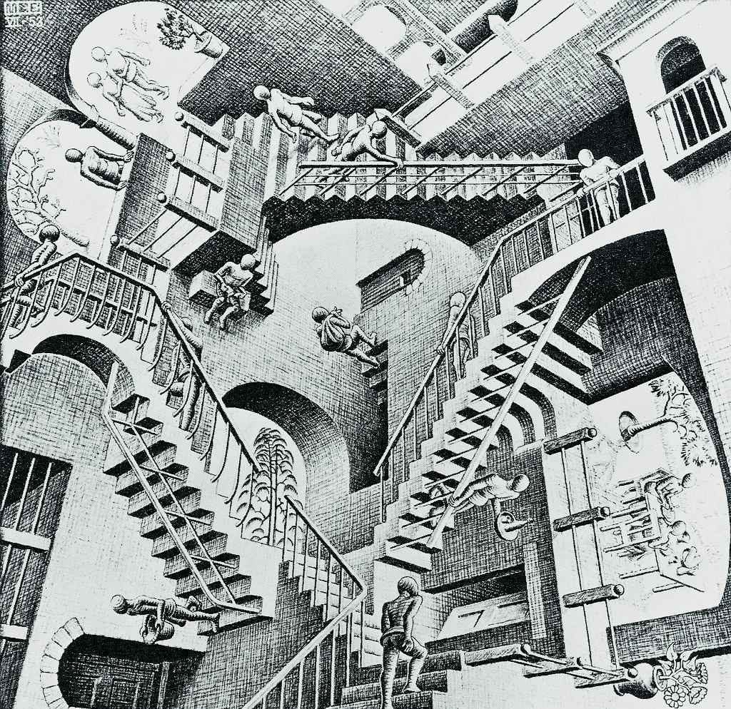 Z której strony patrzeć na ten obrazek? Maurits Cornelis Escher zasłynął jako autor grafik, w których formy przestrzenne ukazywał w sposób sprzeczny z doświadczeniem wzrokowym.
