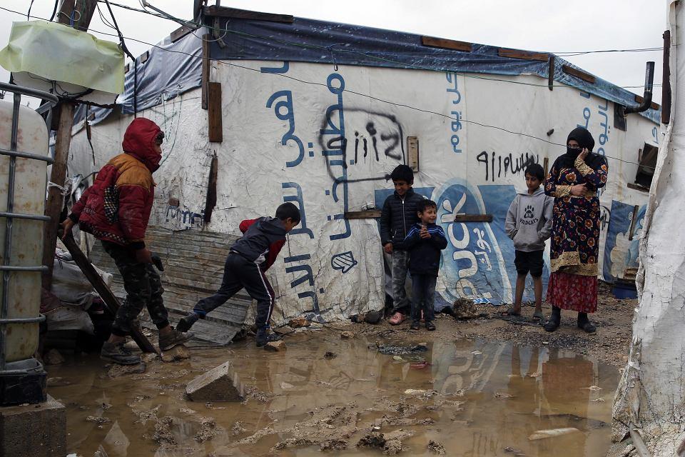 Syryjczycy w obozie dla uchodźców w Bar Elias, Liban, 3 stycznia 2019 r.