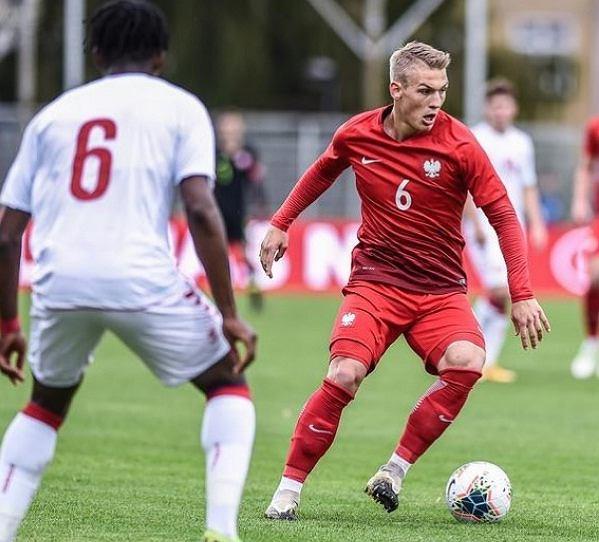 Jan Biegański w koszulce reprezentacji Polski U-19