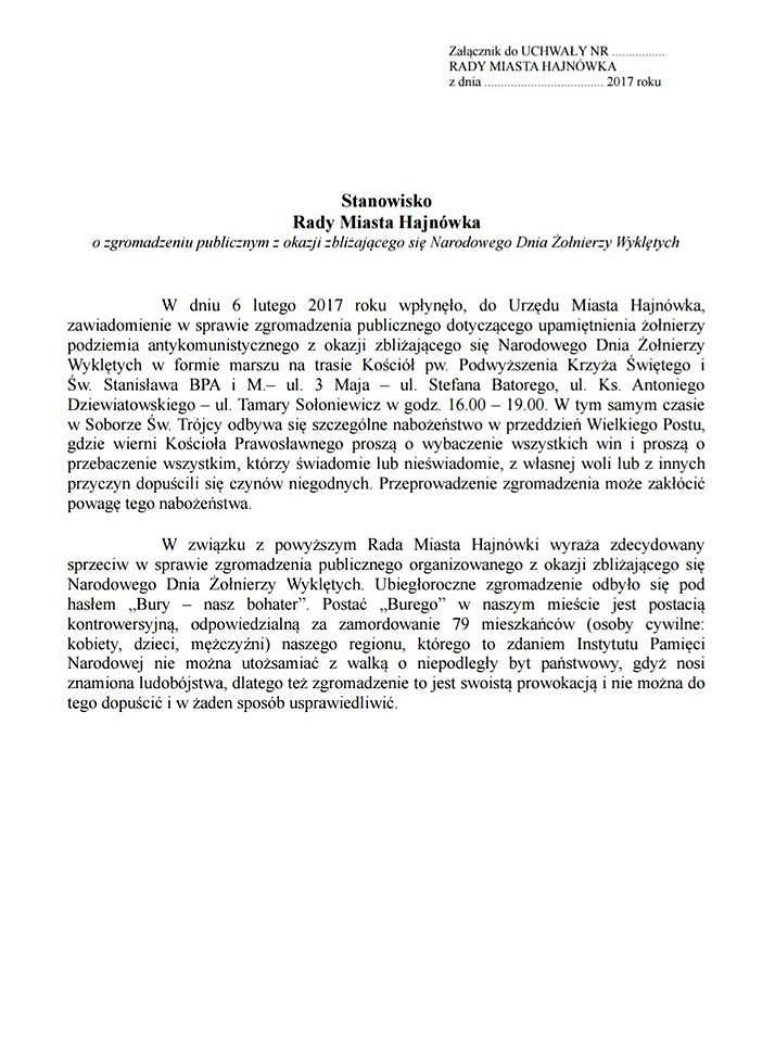 Projekt stanowiska Rady Miejskiej Hajnówka, który w piątek zostanie przedłożony na sesji