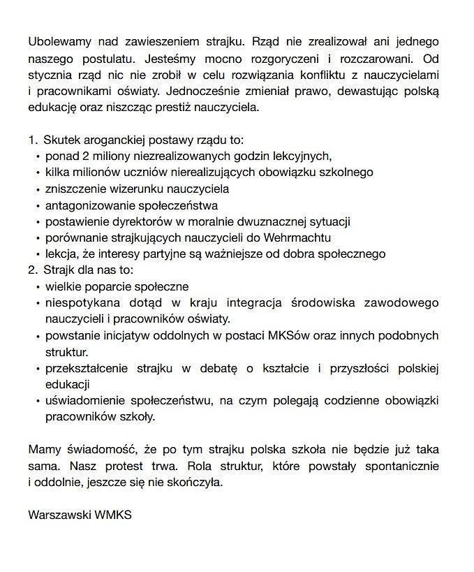 Manifest WMKS dotyczący zawieszenia strajku nauczycieli