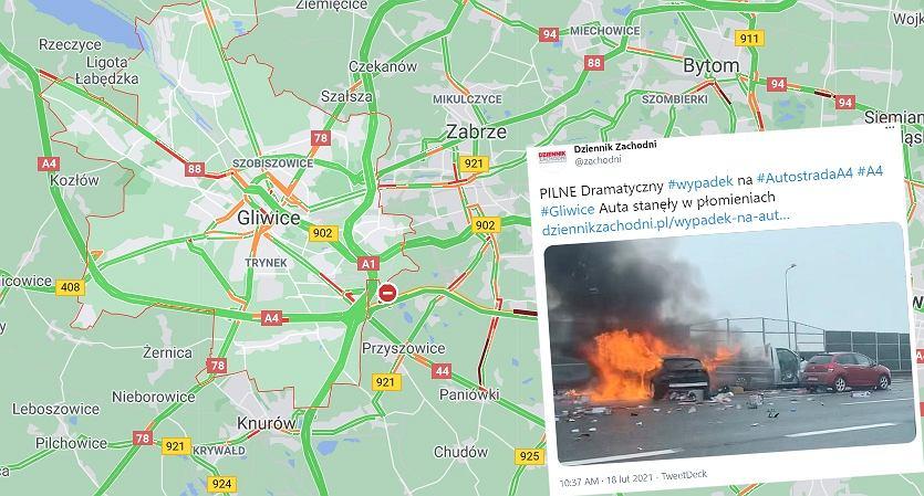 Pożar samochodów na A4