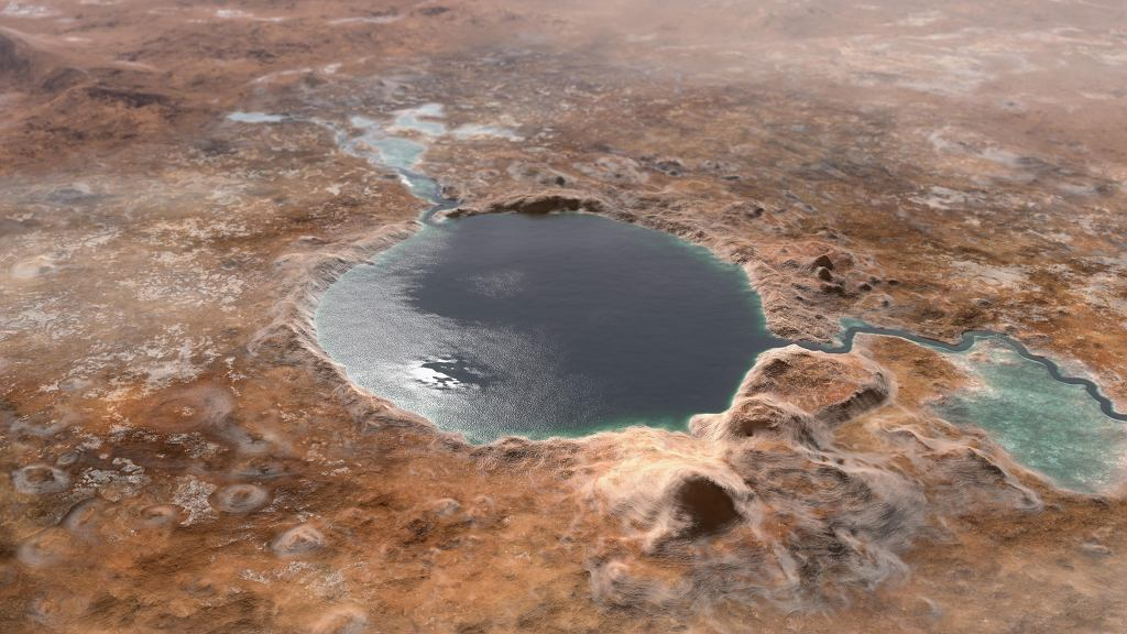 Tak mógł wyglądać Karter Jezero miliardy lat temu - wizualizacja