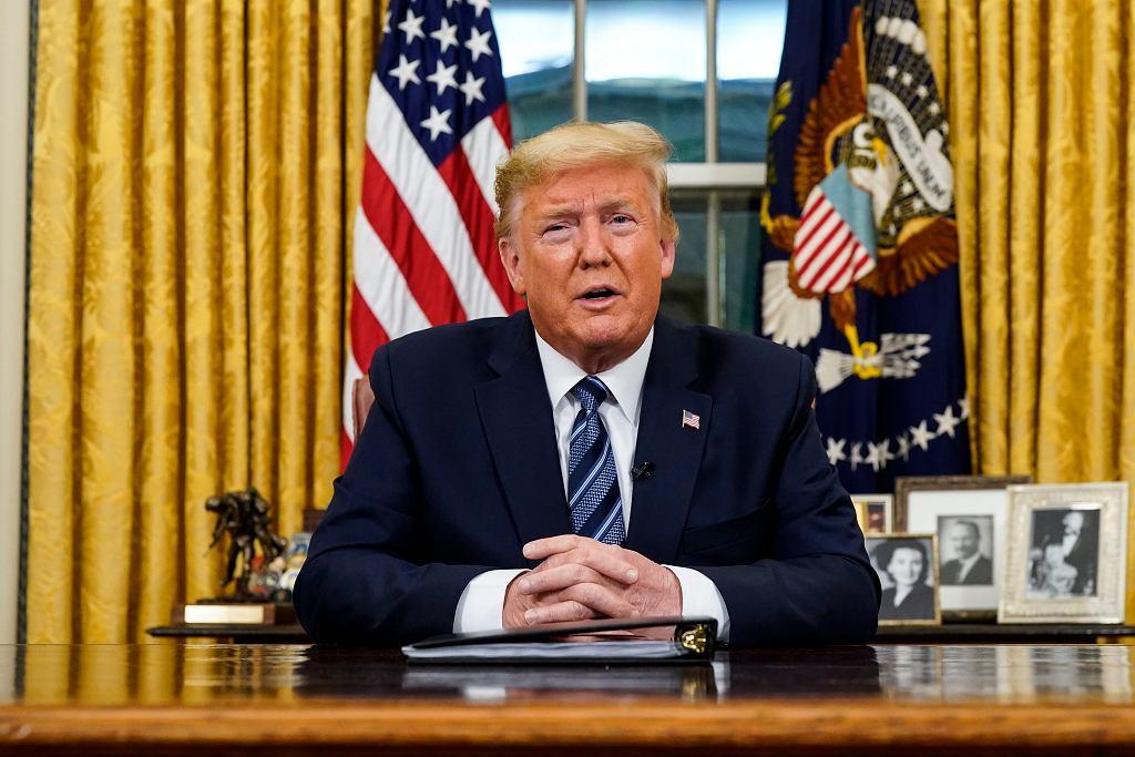 Donald Trump podczas orędzia na temat koronawirusa, 11 marca 2020 r.