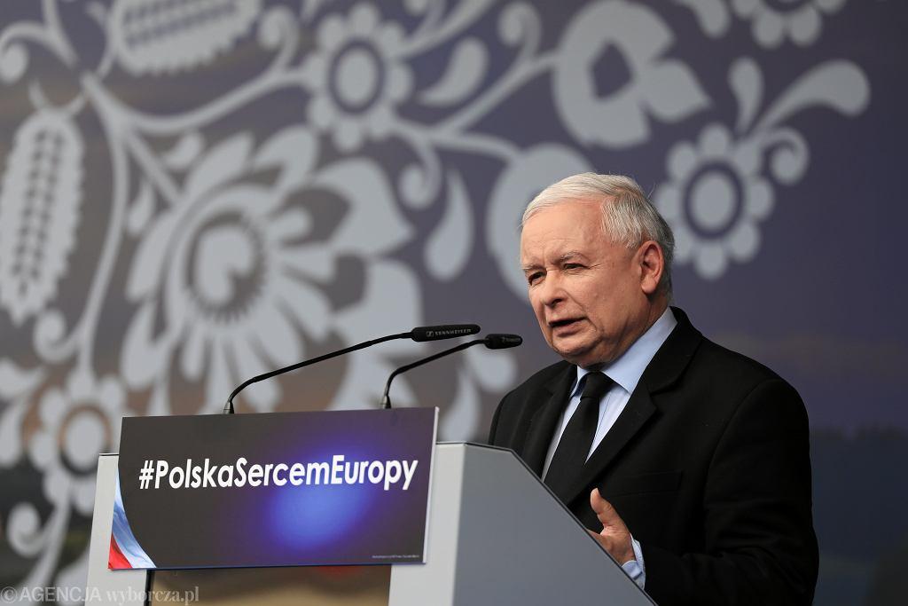 Jarosław Kaczyński na pikniku PiS w Pułtusku