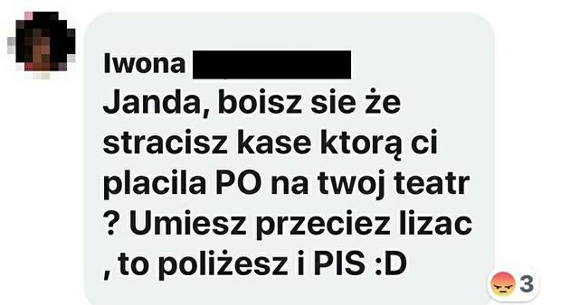 Krystyna Janda reaguje na wpis hejterki