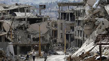 Zniszczone przez wojnę przedmieścia Damaszku. Syria, 18 maja 2017 r.