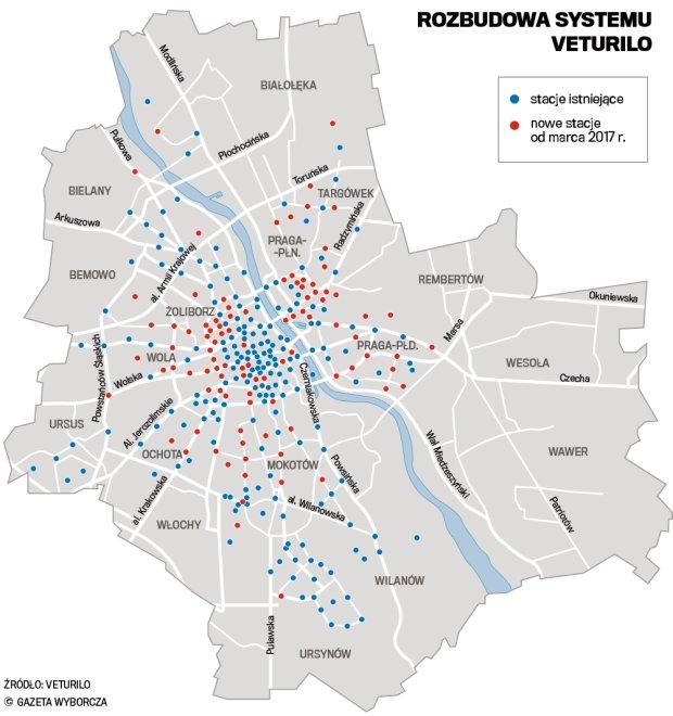 Za Rok 100 Nowych Stacji Veturilo Gdzie Powstana Mapa