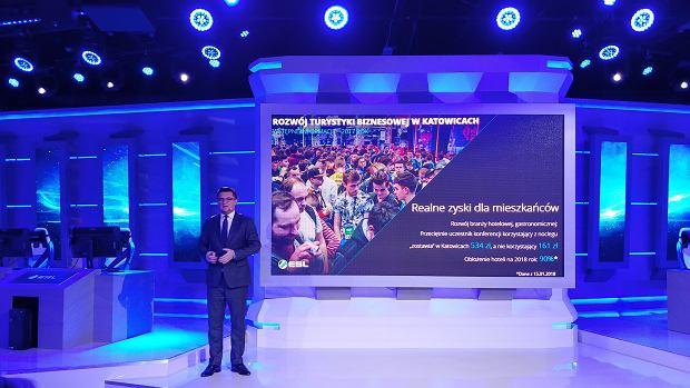 Marcin Krupa, prezydent miasta Katowice w ESL Arena
