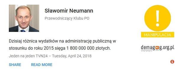 Sławomir Neumann - wypowiedź zweryfikowana przez serwis Demagog.org.pl