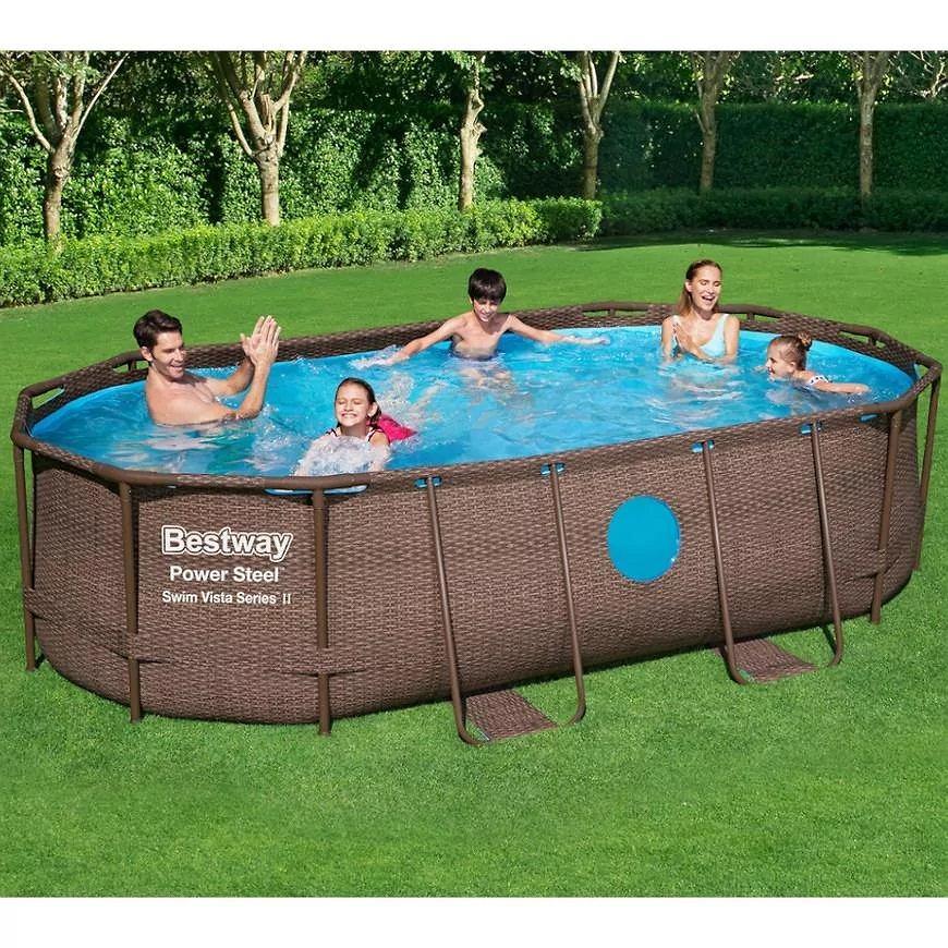 Owalny basen ze stelażem