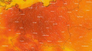 Pogoda. Nad Polskę nadciąga fala upałów (mapka pogodowa przedstawiająca pogodę w sobotę 19 czerwca o godzinie 16)