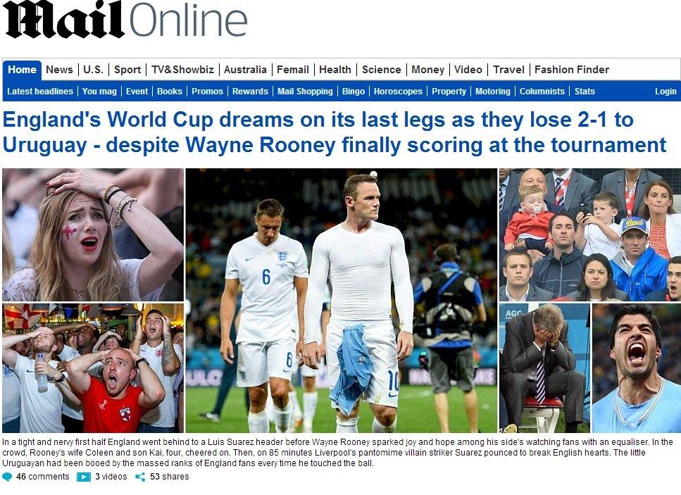 Daily Mail o porażce Anglii z Urugwajem.