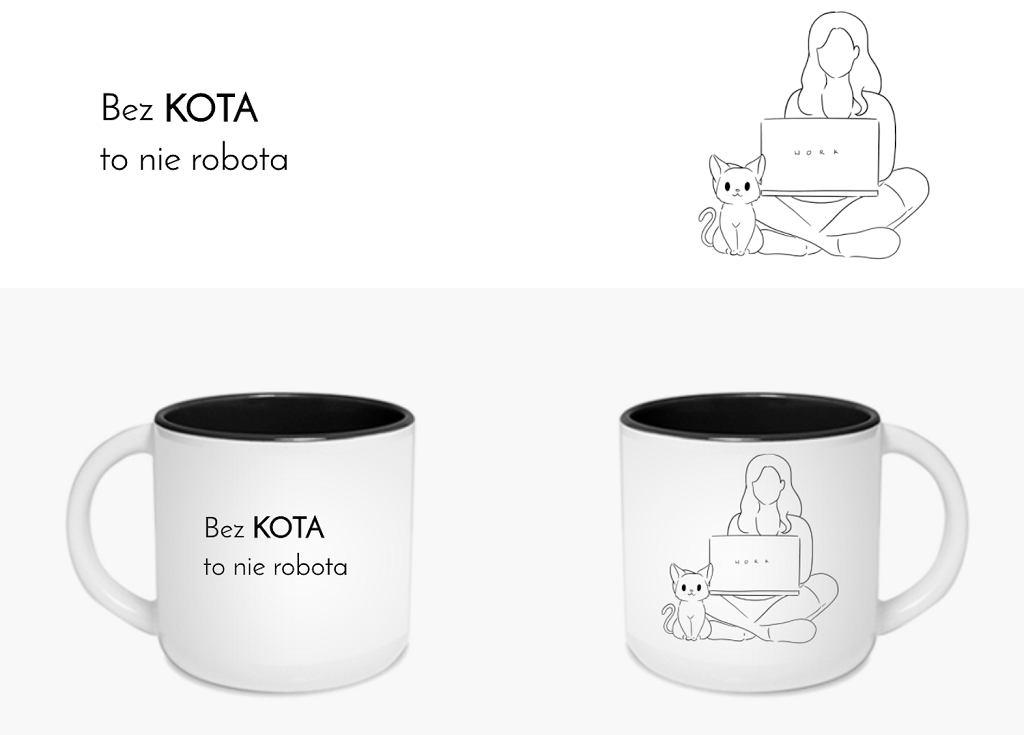 Kubek z kotem 'Bez kota to nie robota'.