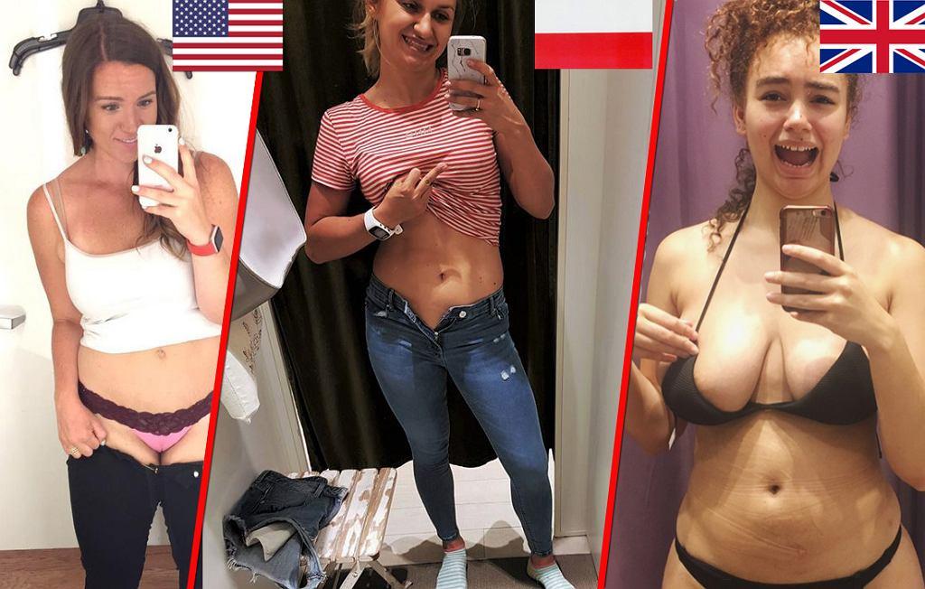 Dziewczyny, które są wściekłe na producentów odzieży. Ich selfies z przymierzalni rozpętały burze w internecie. Od l. Katy (@WODtheFork) z USA, Dr Lifestyle z Łodzi i brytyjska modelka Sonny Turner