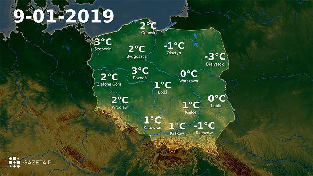 Mapa temperatury 9.01.2019