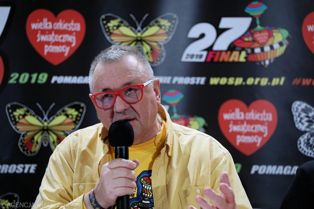 Jerzy Owsiak podczas konferencji prasowej. Warszawa, 13 stycznia 2018