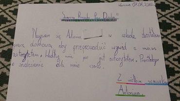 Antosia napisała list do Rzecznika Praw Dziecka, Marka Michalaka