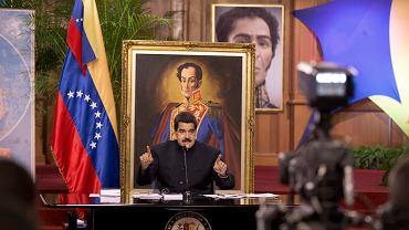 Prezydent Nicolas Maduro przemawia na niedawnej konferencji w Caracas