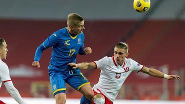 Oleksandr Zinchenko i Przemysław Płacheta w meczu Polska - Ukraina na Stadionie Śląskim
