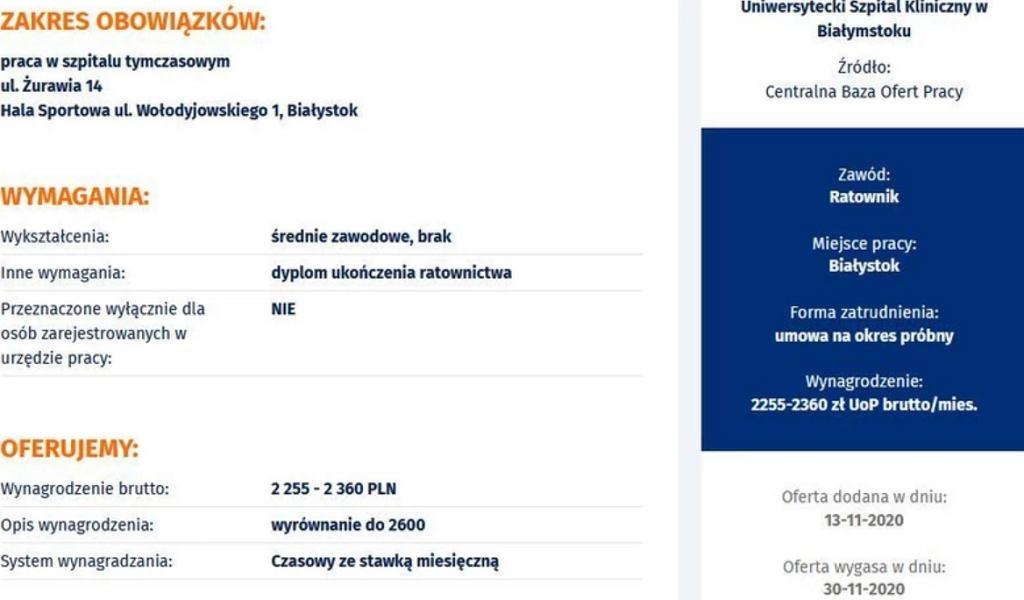 Oferta pracy dla ratownika medycznego szpitala tymczasowego w Białymstoku.