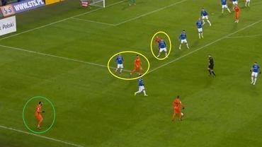Akcja Zagłębia flanką. Zawodnik z piłką ma czas i miejsce na dogranie. Dwie najbliższe opcje podania otwierającego (żółte kółka) niepodwojone, zupełnie wolna opcja rozszerzenia gry (zielone kółko).