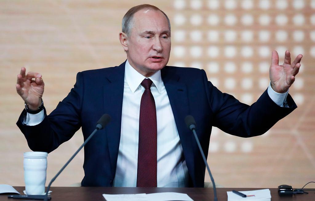 19.12.2019 Moskwa. Prezydent Rosji Władimir Putin podczas konferencji prasowej.