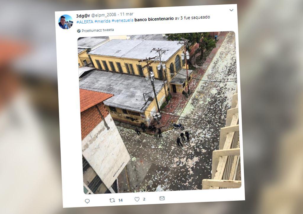 Wenezuela. Ludzie okradli bank. Wzięli wszystko oprócz pieniędzy