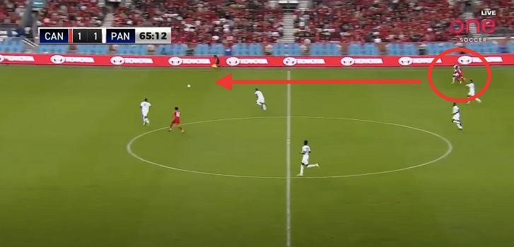 Alphonso Davies - sprint w meczu z Panamą w eliminacjach MŚ, po którym Kanada wyszła na prowadzenie. Źródło: YouTube https://www.youtube.com/watch?v=LD9x2TE9NyY