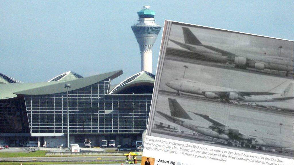 Ogłoszenie z malezyjskiej gazety, wzywające do odbioru trzech boeingów