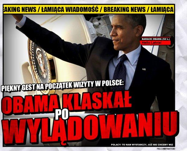 BREAKING NEWS: Obama klaskał, jak lądował - Faktoid - Faktoid