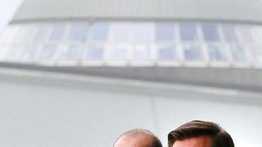 Konferencja prasowa z udziałem prezydenta Marcina Krupy (z prawej) i wiceprezydenta Krzysztofa Mikuły w sprawie stworzenia wielosekcyjnego GKS-u Katowice