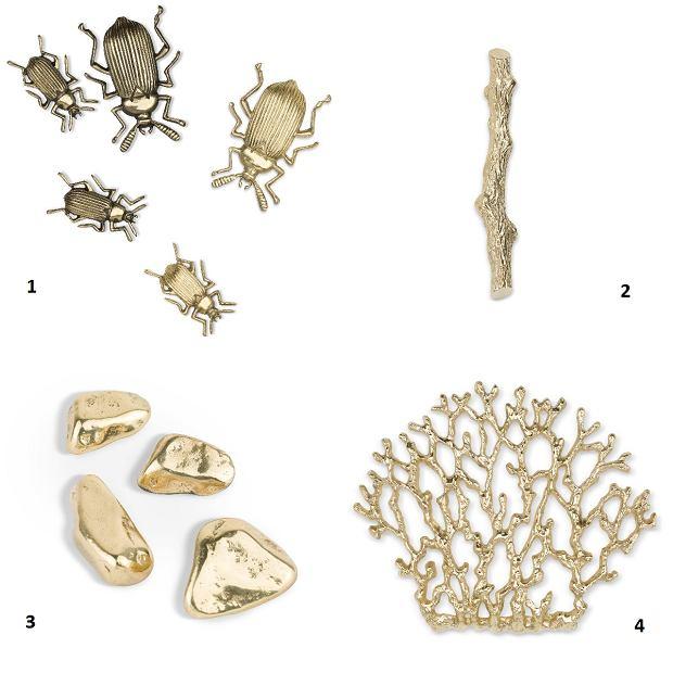 Uchwyty meblowe z kolekcji Organic. 1. Beet - od 190 zł/szt. 2. Twig M - od 260 zł 3. Stone od 50 zł/szt. 4. Coral XL - od 480 zł
