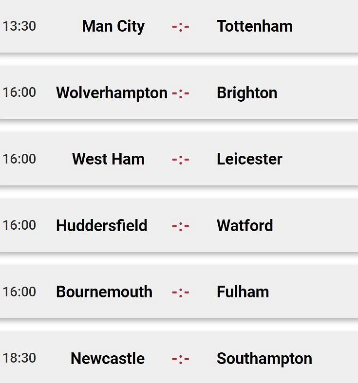 Sobotnie mecze Premier League