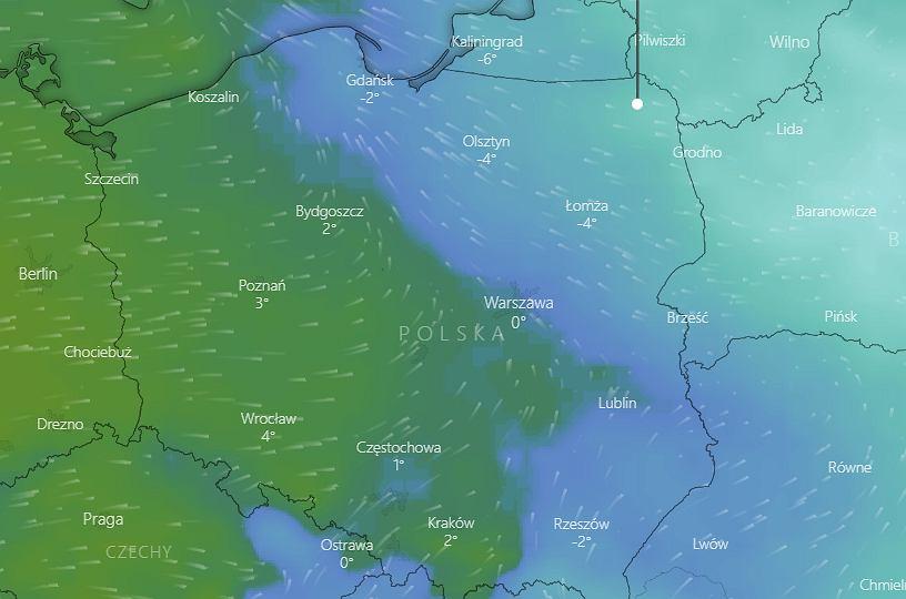 Pogoda na środę - na mapce widać kontrast termiczny