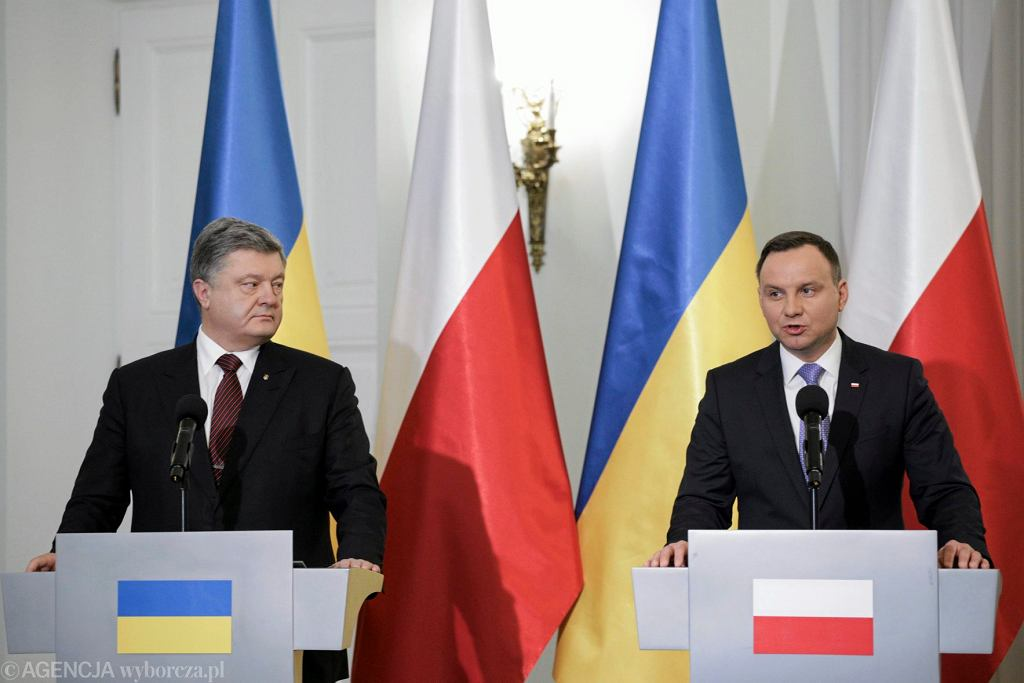 Prezydent Ukrainy Petro Poroszenko podczas spotkania z prezydentem Polski Andrzejem Dudą, 2 grudnia 2016.